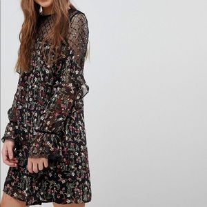 New Look Floral Sequin Mesh Tunis Dress